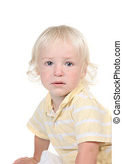 Handsome Infant Toddler Boy With Blue Eyes and Blonde Hair