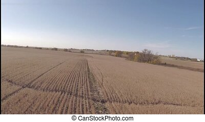 Aerial agriculture farm field lands - Aerial view of...
