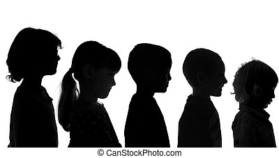 Various Children Shot in Silhouette Style - Five Various...