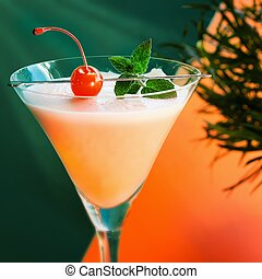 Drink detail - Alcoholic summer recreational drink with...