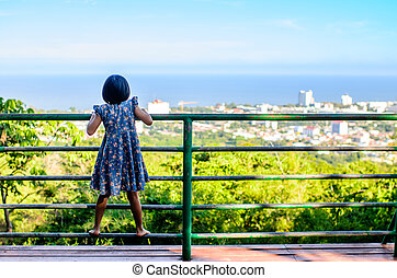 Back of Asian child enjoying at Hin Lek Fai view point, Hua...