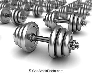 dumbells - 3d illustration of dumbells background