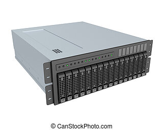 server - 3d illustration of server isolated over white...