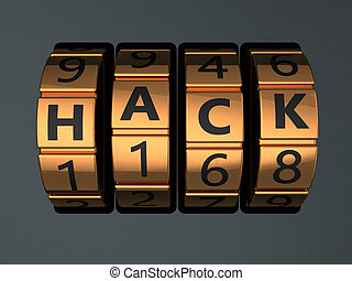 hacking - 3d illustration of code lock with text 'hack' on...