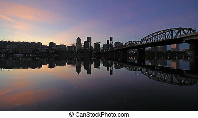 Portland OR City Skyline at Sunset