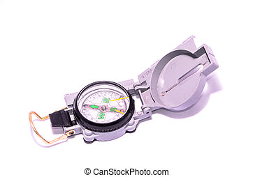 Gray Military Vintage Compass on a White Background