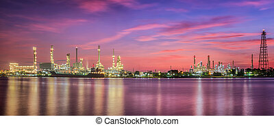 Petrochemical plant - petrochemical plant in night time with...