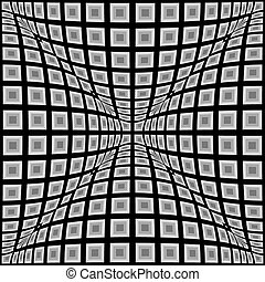 Design monochrome warped checked pattern. Abstract convex...