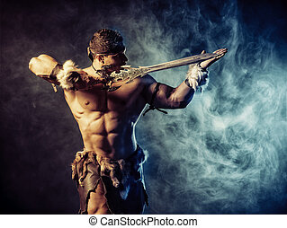metallic sword - Portrait of a handsome muscular ancient...