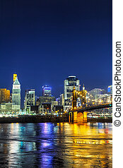 Cincinnati downtown overview in the night