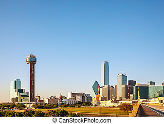 Overview of downtown Dallas in the evening