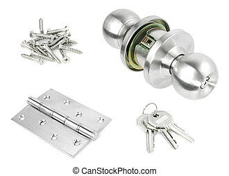 Door Knob assembly with bolts and screws on White Background...