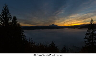 Time Lapse Movie of Sunrise with Blanket of Rolling Fog and...
