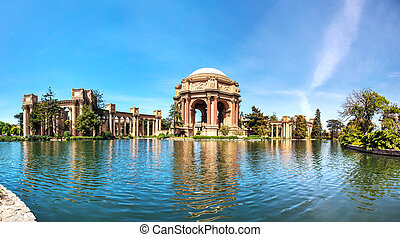 The Palace of Fine Arts panorama in San Francisco - The...