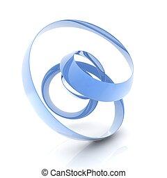3D helix shape - 3D metallic curve surface shape on white...