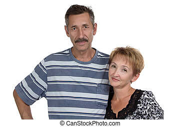 Portrait of old woman and man on white background
