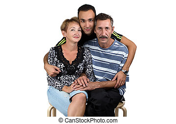 Photo of the hugging happy family