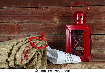 Santas equipment - burlap bag, wish list and lantern -...