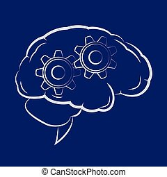 Symbol of the cogwheels inside human brain