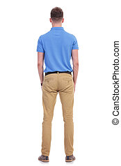 casual young man stands with his back at you - full length...
