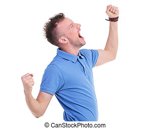 casual young man screaming loudly - picture of a young...