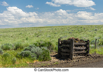 Rural prairie with rock fence post - Rural praire with...
