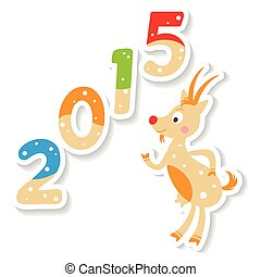 Cute Christmas Goat with 2015 number - Happy new 2015 year...