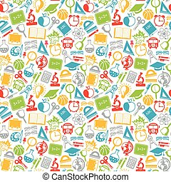 colorful seamless pattern school subjects, school icons