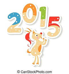 cute goat with 2015 number - Happy new 2015 year postcard...