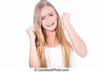 feliz, joven, mujer, con, puños, Arriba,