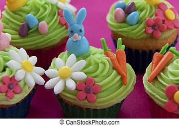Easter themed cupcakes - Easter cupcakes with bunny, eggs,...