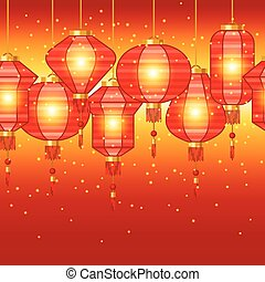 Chinese New Year seamless pattern with lanterns