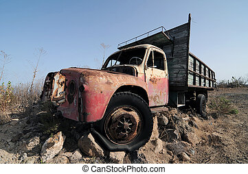 Rusty Abandoned Truck on the Desert, in Canary Islands,...