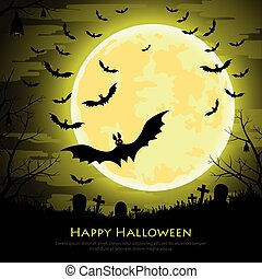 Happy Halloween background with moon and bats