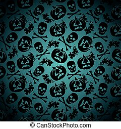 Halloween background with pumpkin and skeleton seamless...