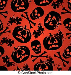 Halloween background with pumpkin and skeleton