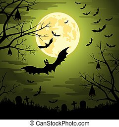 Happy Halloween background with moon and bats at the...