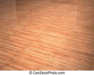 wood floor - brown wood floor with light reflection.