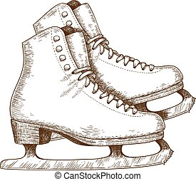illustration of ice skating shoes - Engraving antique...