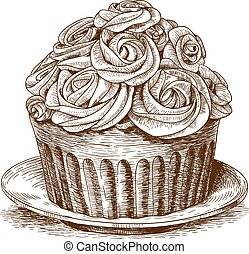 engraving cake on white background - vector illustration of...