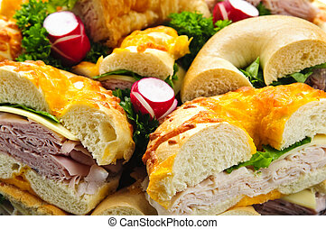 Sandwich tray - Assorted bagel sandwich platter with meat...