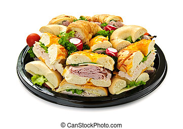 Sandwich tray - Isolated assorted platter of sandwiches with...