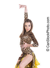 Dancing - Gorgeous young salsa woman dancer isolated on...