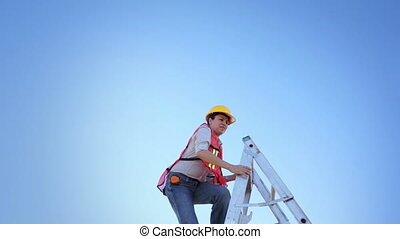 Woman Worker Climb Ladder Raised Ha - Woman construction...