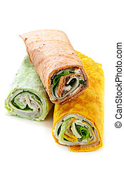 Wrap sandwiches - Three isolated multicolored tortilla wraps...