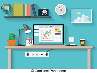 Working Place Modern Office Interior Flat Design Vector...