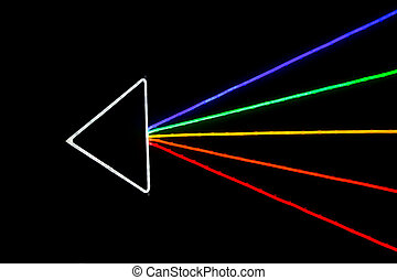Colorful arrow, LED light effect on the black background