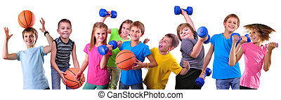 Team of sportive kids friends with dumbbells and ball -...