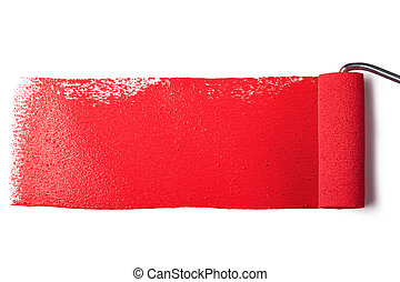 Paint roller - roller brush with red paint