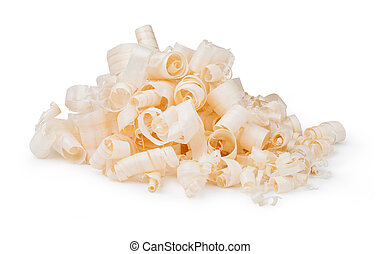 Wood shavings isolated on white background